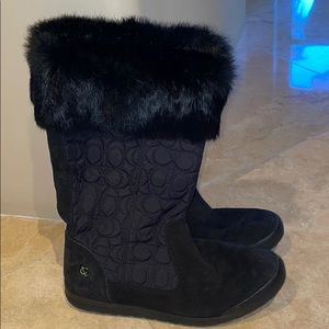Coach snow boots fur trim SZ 8
